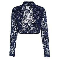 f783de097  WSPLYSPJY Women's Long Sleeve Coat Lace Shrug Bolero Cardigan ...