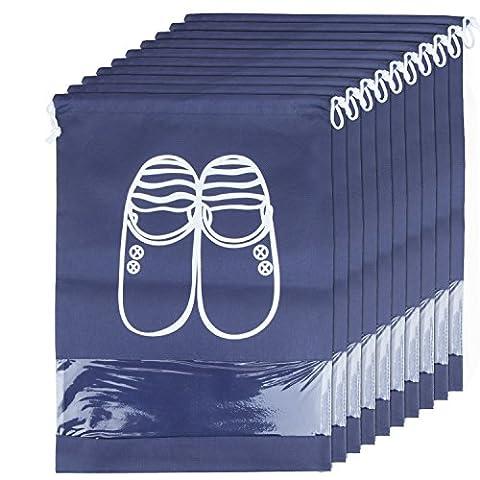 ZeWoo Lot de 10 Travel Sacs à Chaussures de Voyage, Sacs de Voyage Respirants Sacs Organisateurs, Drawstring Portable Anti-poussière avec Fenêtre Transparente (Bleu marin)