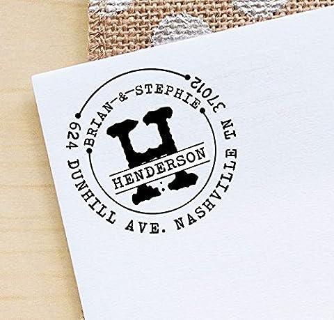 Personalized Adresse Self Inking retour Timbre personnalisé Round Monogram caoutchouc
