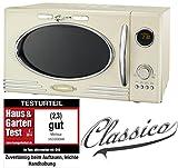 Melissa 16330089 Retro Mikrowelle/900 Watt/25 Liter Garraum,Design Mikrowelle mit Grill/Creme