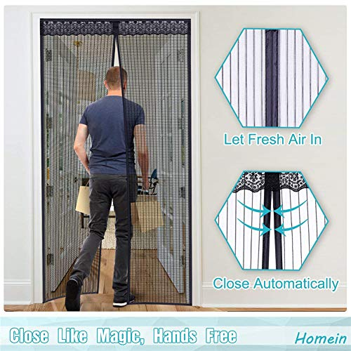 Raumteiler Frames (AWQRE-M Magnetische Fliegengittertür Full-Frame-Klebestreifen Mesh-Vorhang mit Schnürsenkel halten Insekten fern Lassen Sie frische Luft in Insektengittertür,Black,85 * 200cm)