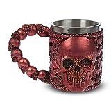 mtb more energy Boccale ''Smiling Skully'' - Tazza Skull (0,35 l) con Impugnatura in Osso - Rosso - Altezza 11 cm - Decorazione Medievale Fantasy