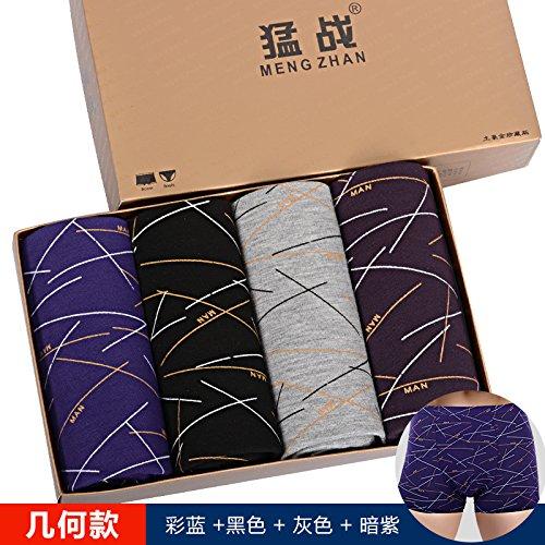 Unterhosen Unterwäsche Bambusfaser Slip Men's Fett Hosen 4 pcs, Nautical Chart, XL Greatlpk geometry