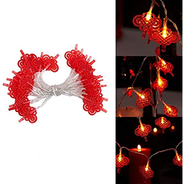Red Lantern Chinese Knot LED String Lights Party Battery Operated Wedding Decor❤