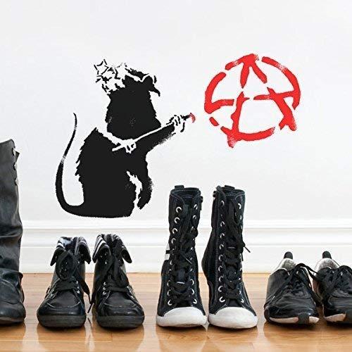 Banksy Anarchie Ratte Schablone   Wiederverwendbar Startseite-Wand-Dekor Schablone   Graffiti Banksy Stil Kunst Schablone   Wandfarbe Stoffe & Möbel - halb transparent Schablone, L/ 36X54CM