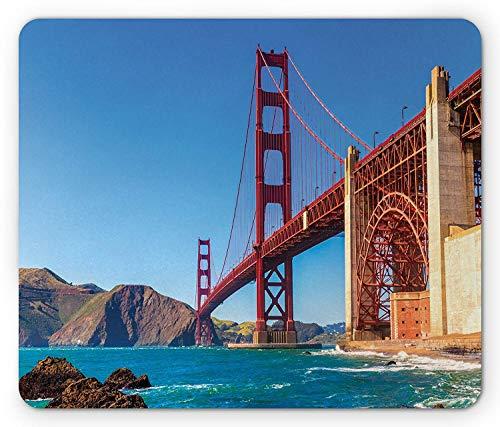 WYICPLO Travel Mouse Pad, San Francisco Golden Gate Bridge GGB from Marshall Beach in California USA Shore, Standard Size Rectangle Non-Slip Rubber Mousepad, Multicolor
