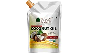 BLISS OF EARTH Organic Unrefined Virgin Coconut Oil for Cooking, Hair and Skin, 250 Ml