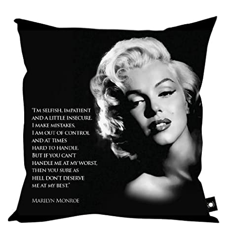 MARILYN MONROE QUOTE CUSHION 18 X 18 MADE IN YORKSHIRE by L&S PRINTS FOAM DESIGNS