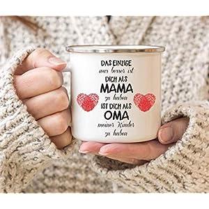 Emaille Tasse für die beste Oma   Emaille Becher weiß mit Edelstahlrand   Tasse mit Spruch als Geschenk für Oma   Kaffeetasse auch als Geschenk für Mama