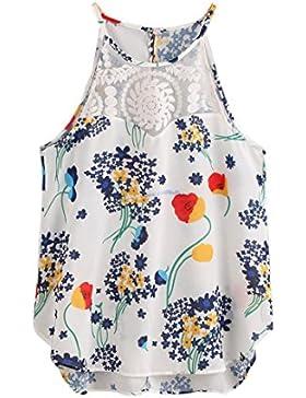 vovotrade Mujer Gasa Colorido flor verano fresco casual sin mangas cosecha chaleco camisa Blusa Cami Top