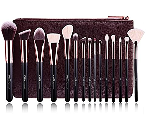 MSQ® Professional 15pcs Makeup Brushes Set Rose Gold Powder Cosmetic Make up Brushes Animal&Synthetic Hair With PU Leather