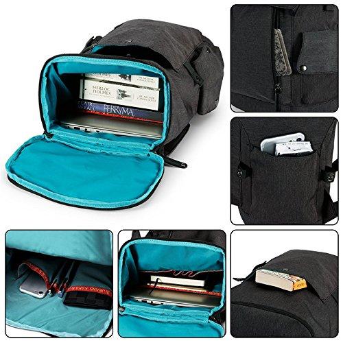 Cornasee Wasserdicht Laptop Rucksack 15,6 zoll Leinwand Daypack Casual Schulrucksack , Kapazität 23L Schwarz schwarz