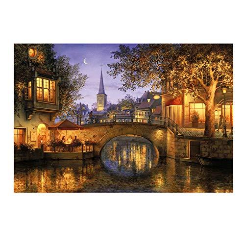 DIY Diamant Malerei FORH 5D Kreuzstich volle Stickerei Gemälde Strass Eingefügt Cross Stitch Embroidery Kit Home Decor Arts 30x40cm (Kleine Brücke) -