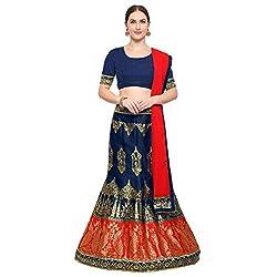 Styles Closet Womens jacquard Lehenga Choli(BND-7196_Blue_Free Size)