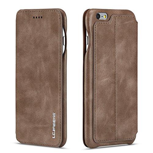 QLTYPRI iPhone 7 Plus 8 Plus Hülle, Premium PU Leder Handyhülle Ultra Dünne Ledertasche Magnetverschluss Standfunktion & Kartensfach Wallet Case Flip Schutzhülle für iPhone 7 Plus 8 Plus - Braun Schutzhülle Flip Case