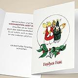 100er Set Edle Unternehmen Weihnachtskarten mit hand-gemalten heiligen drei Königen, mit ihrem Innentext (Var3) drucken lassen, als Weihnachtsgrüße geschäftlich / Neujahrskarte / Firmen Weihnachtskarte für Kunden, Geschäftspartner, Mitarbeiter: Frohes Fest -
