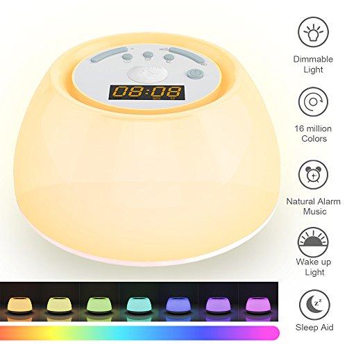 Wake up Licht 2018 Neuestes Design wecker led Lichtwecker Nachtlichtmit Sonnenaufgangfunktion, Schlafhilfe fuktion ähnlich aber einfacher bessere Qualität auf dem Markt perfect Geschenken für Kids