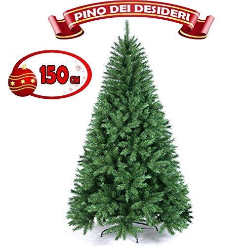 Bakaji Albero Di Natale 150 cm Pino Dei Desideri Ecologico e Ignifugo Con Base a Croce In Ferro Pieghevole 375 Rami Innesto Ad Uncino Colore Verde
