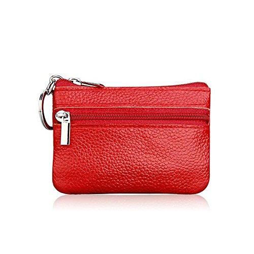 LZHA Girls Women's Genuine Leather Coin Purse Mini Pouch Change Wallet Key Ring