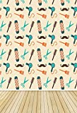 YongFoto 1x1,5m poliestere Sfondo Fotografico Cartone animato Capelli forbici Asciugatrice Mache Stripe Wood Floor Fondale Foto Festa Bambini Boby Nozze Adulto Partito Studio Fotografico Puntelli