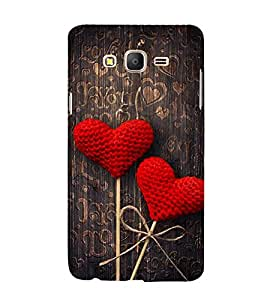 FUSON Red Fabric Heart 3D Hard Polycarbonate Designer Back Case Cover for Samsung Galaxy On5 Pro (2015) :: Samsung Galaxy On 5 Pro (2015)