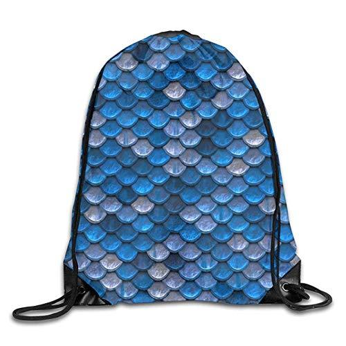 Sporttasche mit Kordelzug, Sportrucksack, Reiserucksack, Sea Blue Mermaid Scales Gym Sport Bag Drawstring Bag Backpack Draw Cord Bag Men Women Gym Sport Yoga Dance Travel -