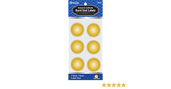 41mm Starburst Stickers Company Legal Notary Starburst Wafer Certificate Seals