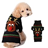 ZHONGGEMEI Dog Christmas Knitted Sweater Dog Reindeer Holiday Pet Clothes Sweater for Dogs Puppy Kitten Cats (Black Elk, L)