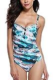 CharmLeaks Damen Einteiler Badeanzug Elegant Figuroptimize Bademode Blau XL