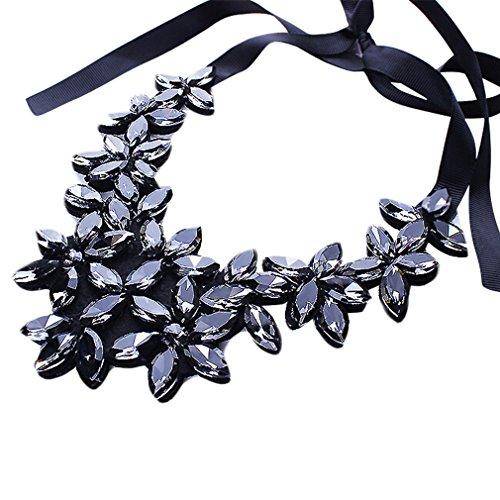 YAZILIND Flower Ribbon Kette Halskette Anhänger Bib Crystal Elegante Halsreif Klobige Kragen Frauen Schmuck (Ziel Kostüm Vampir)