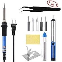 GHB Kit del soldador 60W ajustable temperatura soldadura 7 en 1 kit con 5 Diferentes Puntas y una pinza