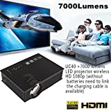 Hanbaili (Blanc + UK Plug) UC40 Mini LED Vidéo Projecteur, 7000 Lumens Multimédia Home Cinéma Vidéo Projecteur Soutien 1080 P HDMI USB SD Carte VGA AV Home Cinema TV Portable Jeu iPhone Android Smartp