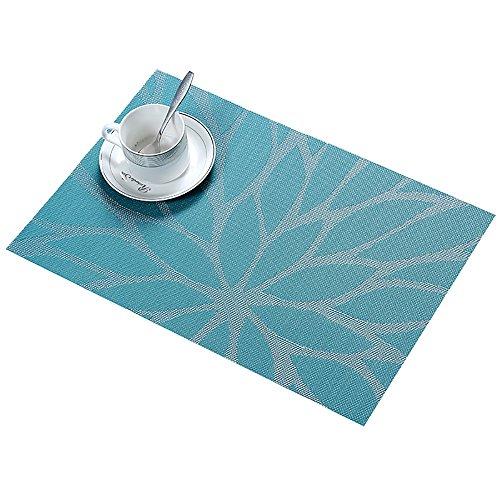 Platzset Abwischbar 30x45cm 6 Stück, moonlux Platzdeckchen Tischset Abwaschbar Rutschfest PVC Abgrifffeste Hitzebeständig Tischmatten(Blau)