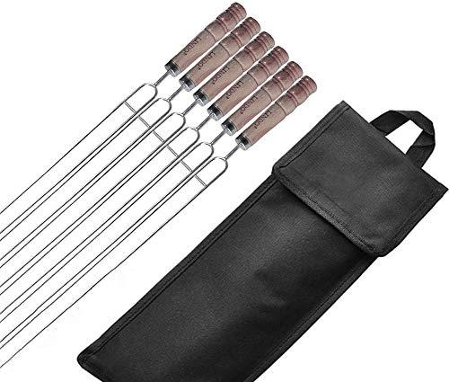 Wzmdd U Typ Grillspieße, Wiederverwendbare Stahl Kabob Spieße for Barbecue Grillen Holzgriff - Testsieger Grillbesteck