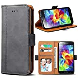 Bozon Galaxy S5 Hülle, Leder Tasche Handyhülle für Samsung Galaxy S5 Schutzhülle Flip Wallet mit Ständer und Kartenfächer/Magnetverschluss (Dunkel-Grau)