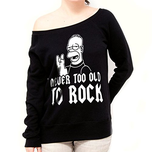 Felpa Fashion NEVER TOO OLD TO ROCK - DIVERTENTE by Mush Dress Your Style - Donna-XL-Nera