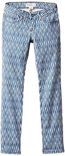 roxy-girls-sparkle-coast-sports-trousers-blue-6555-ikat-chevron-denim-size12-years