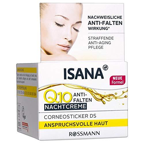ISANA Q10 Anti-Falten Nachtcreme 50 ml für anspruchsvolle Haut, Corneosticker DS, nachweisliche...