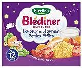 Blédina Blédîner Souple Complète du Soir Douceur de Légumes Petites Etoiles 2 x 250 ml - lot de 3