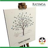Personalisierte Leinwand zur Hochzeit - Motiv WINTERBAUM - als Gästebuch für Fingerabdrücke (40x50cm, inkl. Stift + Stempelkissen)