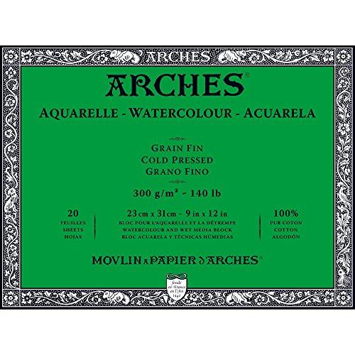 Unbekannt Arches-Bloc para Acuarelas, Madera, Color Blanco, Madera, weiß, 31 x 23 x 1 cm