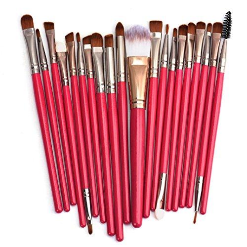 Internet 20 pcs Maquillage Outils Brush Set de Maquillage Trousse de Toilette Laine Maquillage Brush Set Poignée Rouge, Or Rose Head