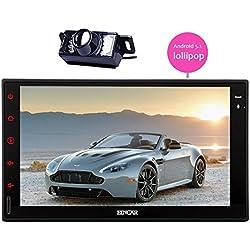7 pouces Unité Android 5.1 Lollipop Radio Car Quad Core Double Din Tête avec système stéréo Parrot Autoradio Bluetooth GPS support de navigation à écran tactile HD Tablet AUX 3G / 4G WIFI CAM-IN