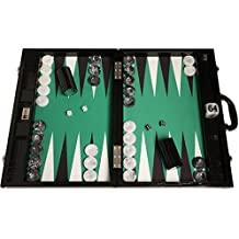 "Wycliffe Brothers Tournament Backgammon Set - 21"" Black Croco Board with Green Field - Gen III"
