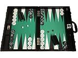 Wycliffe Brothers Backgammon-Turnierset - Schwarzes Kroko mit grüner Spielfläche - Gen III