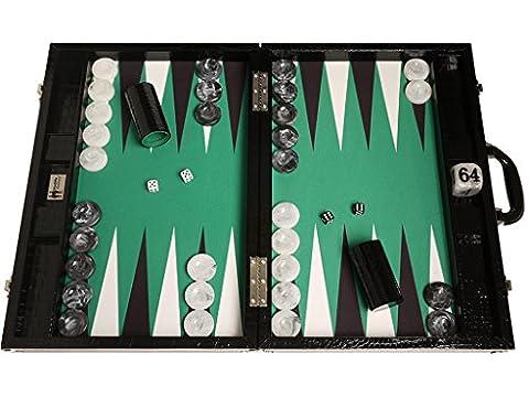 """Backgammon compétition Wycliffe Brothers 3e génération - croco noir, surface de jeu verte - 21"""" coffret backgammon"""