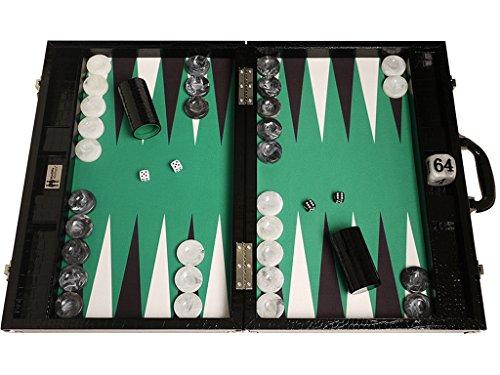 Wycliffe Brothers Backgammon-Turnierset – Schwarzes Kroko mit grüner Spielfläche – Gen III