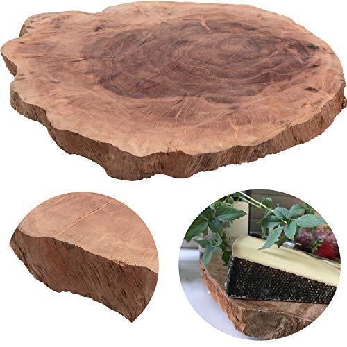 LS-Design XL Mango Schneidebrett Echt-Holz Baumscheibe Ø 34cm Vesperbrett Schneidbrett