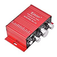 Tosuny Mini Audio Power Amplifier, 12V 2 Channel 20W + 20W Digital HiFi Stereo Amplifier Amp with Aluminium Alloy Shell, Suitable for No More Than 6 Inches & Impedance of 4-8Ω 20W Speakers - Red