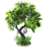 Xiton Plantas Artificiales Acuario Aquascaping Tanque decoración Plantas plásticas pecera decoración Vivid simulación Planta Criatura Acuario Paisaje-Verde Oscuro